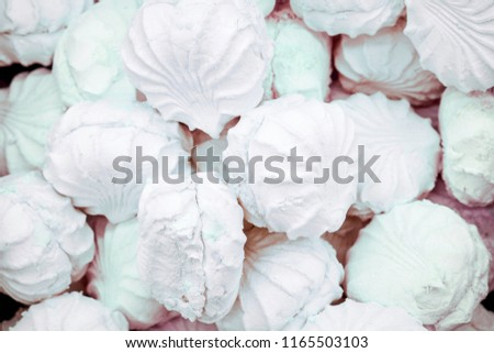 sweet white homemade marshmallows. Homemade sweets. #1165503103