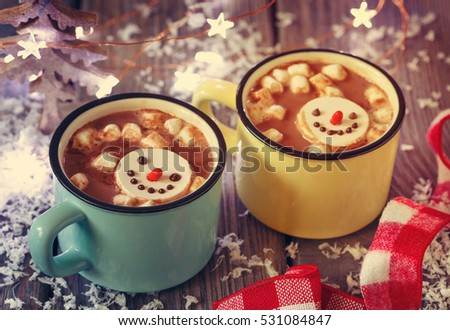 Sweet winter times drink hot chocolate with marshmallow