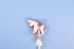 sweet yummy candy cookie on a wooden stick as a kid treat concept. minimalism style. space for text.