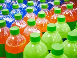 Sweetener Beverage bottles Colourful drinks on supermarket shelf