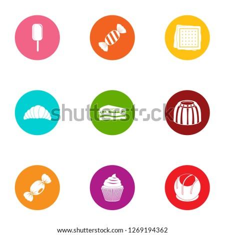 Sweetener icons set. Flat set of 9 sweetener icons for web isolated on white background