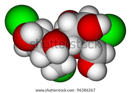 Sweetener sucralose 3D molecular structure