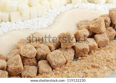 Sweetener with white and brown sugar close-up