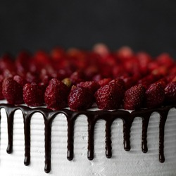 Sweetness for a loved one. Sweet passion. Red passion. Passionate impulse. Dessert for Valentines Day. Cake for March 8. Womens weakness. slice of cake with strawberries on top at an angle. strawberry