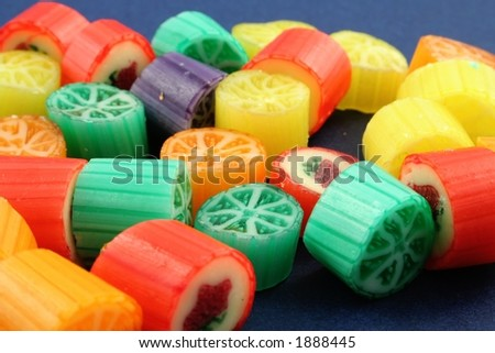 Sweets on a blue background