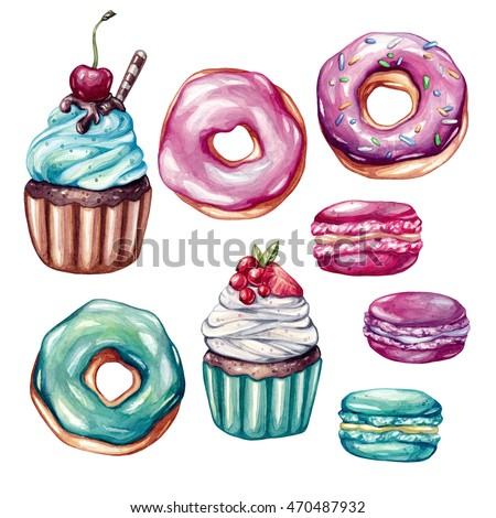 Sweets set. Big watercolor set with isolated elements. Cupcakes with fruits, macaroons, eclairs, pink donuts. Clip-art, watercolor illustrations.
