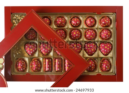 Sweets wrapped up by a foil in brilliant packing on a white background