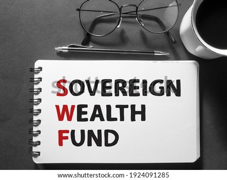 SWF Sovereign wealth fund, text words typography written on book against dark background, life and business motivational inspirational concept ストックフォト ©