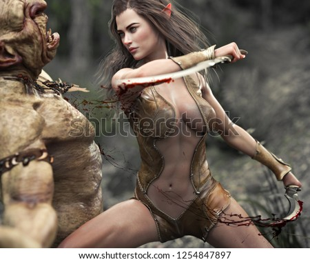 Stock Photo Swift female wood elf warrior making quick work of an attacking troll. 3d rendering