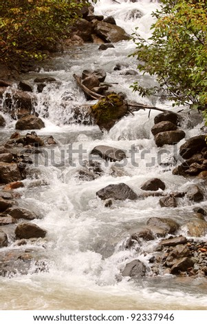 Swift flowing mountain stream in British Columbia