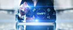 SWIFT Society for Worldwide Interbank Financial Telecommunications money transfer  banking technology concept.