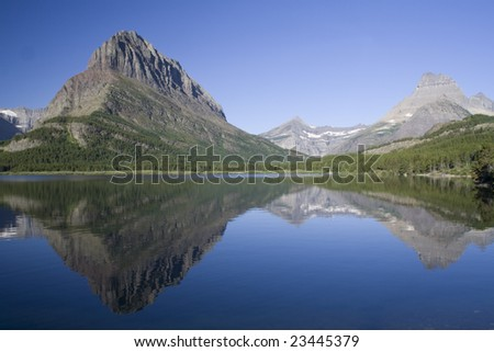 Swiftcurrent Lake and reflection in Glacier National Park, Montana