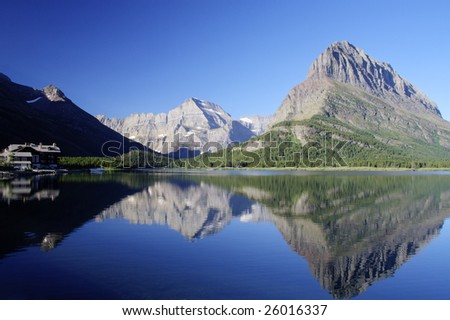 Swiftcurrent Lake, mountains, and reflection in Glacier National Park, Montana