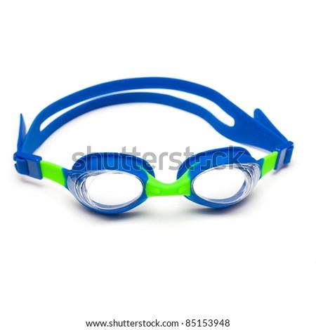 Swim goggles on white background
