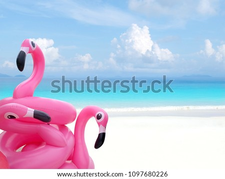 swim ring in the shape of a pink flamingo, on the sand of a beac