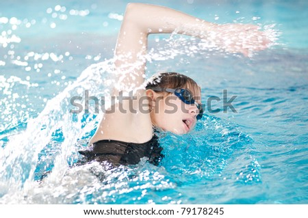 Swimmer breathing performing the crawl stroke