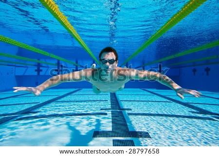 Swimmer Floating Underwater, Underwater View