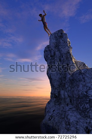 Swimmer jumping from a cliff into the sea