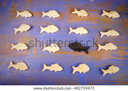 Swimming against the stream, a conceptual shot with fish shaped cookies