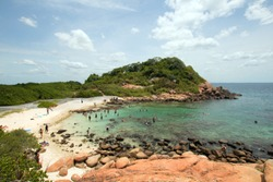 Swimming beach and bay on Pigeon Island National Park just off the shore of Nilaveli beach in Trincomalee Sri Lanka