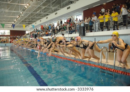 swimming competition - inside pool - Australian courier women