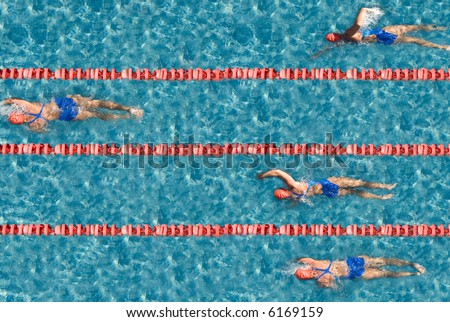 Swimming competition with one champion. Use it for concepts