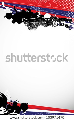 Swimming man background with space (poster, web, leaflet, magazine)