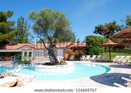 Swimming pool and tree  at the luxury hotel, Halkidiki, Greece