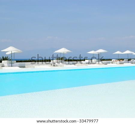 Swimming pool area at ultra modern hotel, Antalya, Turkey