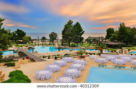 Swimming pool area, Halkidiki, Greece