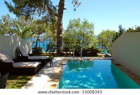 Swimming pool at apartment by luxury villa, Crete, Greece