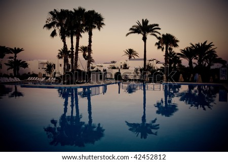 swimming pool at evening, Djerba, Tunisia