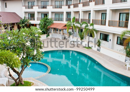 Swimming pool at hotel Udonthani, Thailand - stock photo