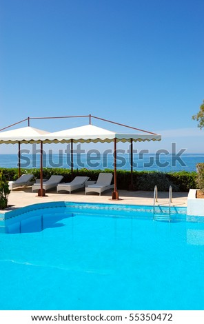 Swimming pool at luxury hotel, Crete, Greece #55350472