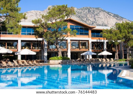 Swimming pool at mediterranean summer resort hotel in Turkey