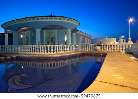 swimming pool at night.