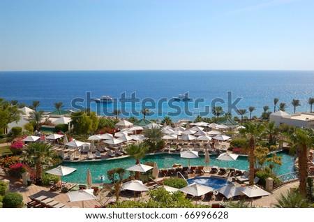 Swimming pool at the beach of luxury hotel, Sharm el Sheikh, Egypt
