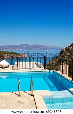 Swimming pool at the luxury villa, Crete, Greece