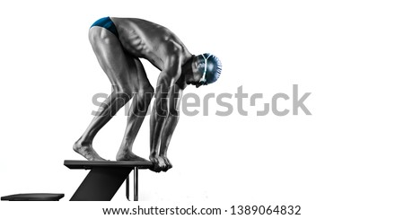 Swimming pool.Black and white Isolated muscular swimmer ready to jump.
