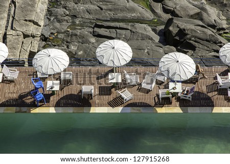 Swimming pool by the rocks in Rio De Janeiro