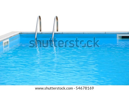 Swimming pool closeup isolated on white - stock photo