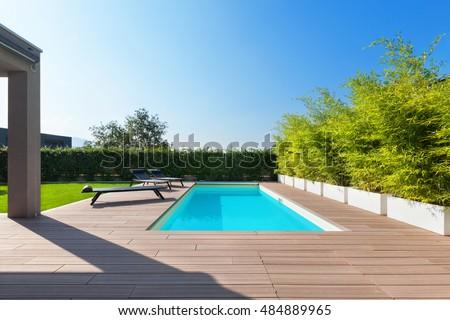 swimming pool design at modern residence