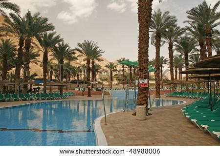 Swimming pool in Dead Sea hotel.Israel
