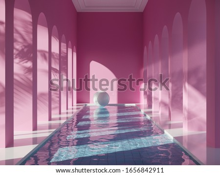Swimming pool in hall with columns, pink colors, conceptual art, 3D illustration, rendering.