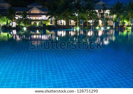 swimming pool in night illumination