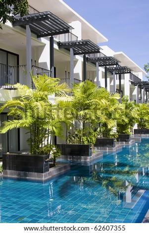 Swimming pool in spa resort - stock photo