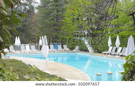 Swimming pool in the garden. photo