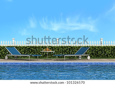 swimming pool in the garden with two chairs in front of a fence - rendering