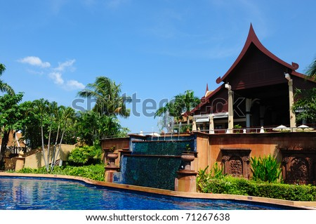 Swimming pool in the hotel in Phuket Island, Thailand