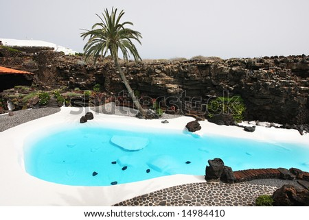 Swimming pool in the Jameos del Agua. Lanzarote.Spain.
